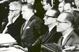 NASA administrators sit at the witness table before the Senate Committee on Aeronautical and Space Services, chaired by Senator Clinton P. Anderson, on the Apollo 1 (Apollo 204) accident. The individuals are (L to R) Dr. Robert C. Seamans, NASA Deputy Administrator; James E. Webb, NASA Administrator; Dr. George E. Mueller, Associate Administrator for Manned Space Flight, and Maj. Gen. Samuel C. Phillips, Apollo Program Director.