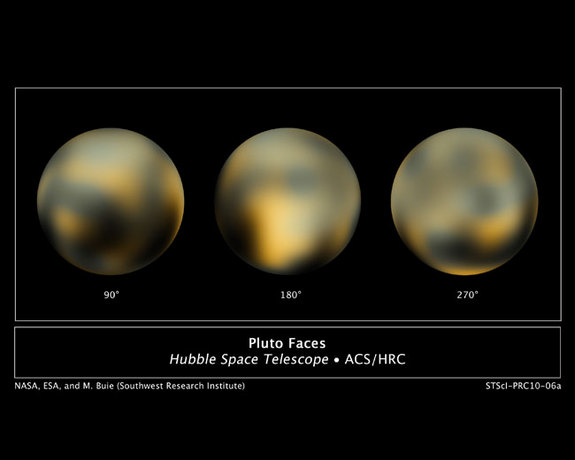 "This is the most detailed view to date of the entire surface of the dwarf planet Pluto, as constructed from multiple NASA Hubble Space Telescope photographs taken from 2002 to 2003. The center disk (180 degrees) has a mysterious bright spot that is unusually rich in carbon monoxide frost. The image was released in February 2010. <a href=""http://www.space.com/10239-colors-pluto.html"">See the dwarf planet turn in a video based on these images</a>."