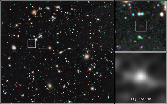 These images zoom into the Hubble telescope's HUDF WFC3/IR image around the galaxy  UDFj-39546284, which scientists say is 13.2 billion years old - the oldest, farthest galaxy yet discovered. This image was released on Jan. 26, 2010.