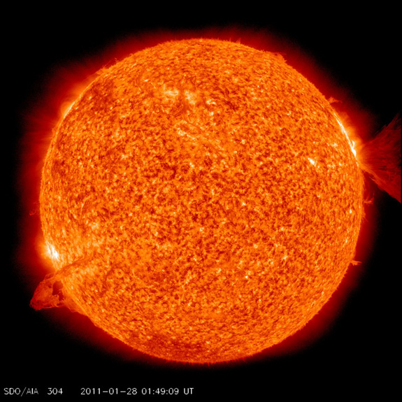 This still from SDO caught the action in freeze-frame splendor when the Sun popped off two events at once (Jan. 28, 2011). A filament on the left side became unstable and erupted, while an M-1 flare (mid-sized) and a coronal mass ejection on the right blasted into space.