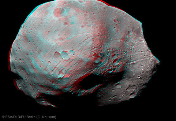 This photo, taken by Mars Express' High Resolution Stereo Camera, shows a 3-D view of the pockmarked surface of Phobos created by years of impacting meteorites.