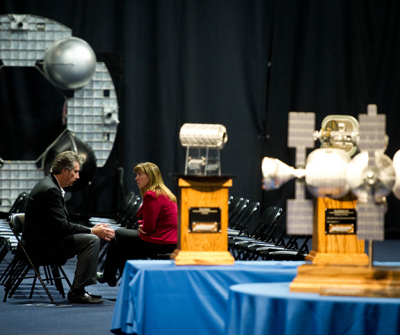 NASA Deputy Administrator Lori Garver talks with Bigelow Aerospace President Robert Bigelow prior to touring their facilities on Feb. 4, 2011 in Las Vegas. NASA has been discussing potential partnership opportunities with Bigelow for its inflatable habitat technologies.