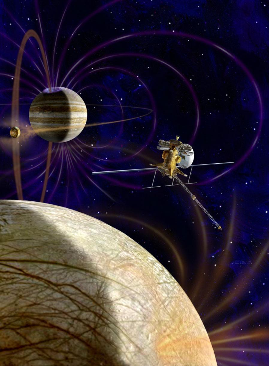 Artist's interpretation of NASA's Jupiter Europa Orbiter, part of the joint NASA-ESA Europa Jupiter System Mission