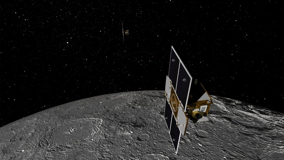 Artist's concept of the two Gravity Recovery and Interior Laboratory (GRAIL) spacecraft orbiting the moon. NASA launched the twin probes in September 2011 to study the moon's gravitational field in unprecedented detail.
