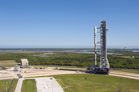 The new Liberty launch vehicle, which draws on parts of NASA's cancelled Ares I rocket and Europe's Ariane 5 rocket, will use existing infrastructure at Kennedy Space Center--including, possibly, the mobile launch platform shown in this illustration.