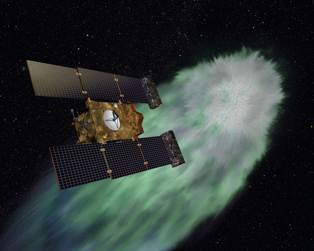 NASA's Stardust-NExT spacecraft approaches Comet Tempel 1 on Valentine's Day (Feb. 14, 2011) in this illustration