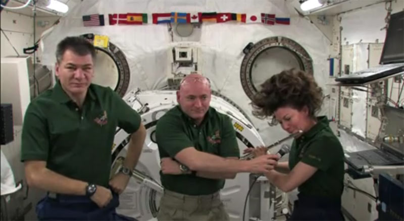 Astronaut Plays Flute in Space