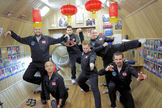 The 6-man crew of the Mars500 mission, a 500-day simulated mission to Mars, poses for a fun photo on Chinese New Year in February  2011.