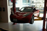 Tesla's Roadster, an electric sports car that runs on lithium-ion battery cells.