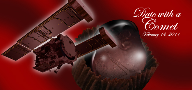 The planned Valentine's Day (Feb. 14, 2011) rendezvous between NASA's Stardust-NExT mission and comet Tempel 1 inspired this chocolate-themed artist's concept.