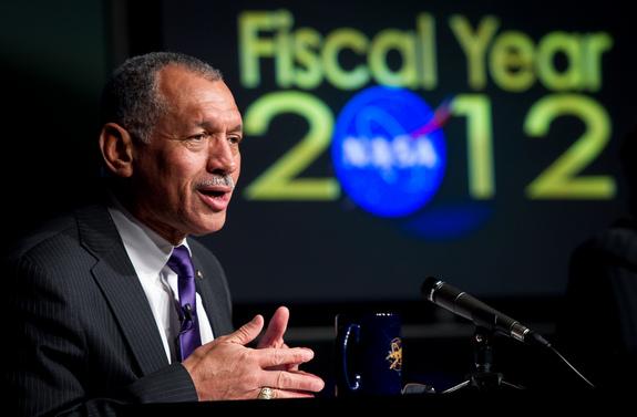 NASA administrator Charlie Bolden at NASA's Fiscal Year 2012 budget briefing on Monday, Feb. 14, 2011 at NASA Headquarters in Washington.