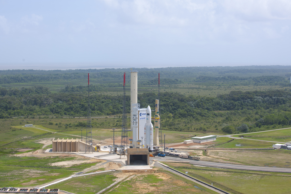 Ariane 5 Rocket on Launch Pad with ATV Johannes Kepler