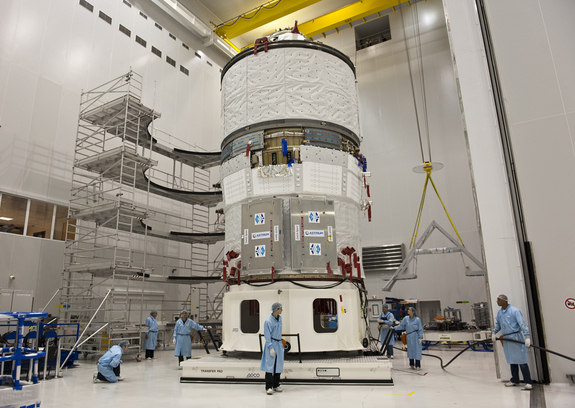 The European Space Agency's ATV-2 Johannes Kepler during transfer from S5C to S5A, 19 November 2010, Europe's Spaceport in Kourou.