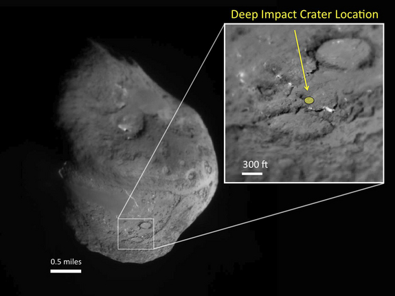 This image shows comet Tempel 1 and the location of an artificial crater created by the Deep Impact mission in 2005.