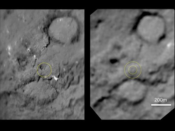 This pair of images shows the area affected by the impactor released by NASA's Deep Impact spacecraft in July 2005. On the left, the image from Deep Impact shows a dark mound about 50 meters (160 feet) in size. The image on the right, newly obtained by NASA's Stardust spacecraft Feb. 14, 2011, shows the impactor erased that dark mound and flattened the area.
