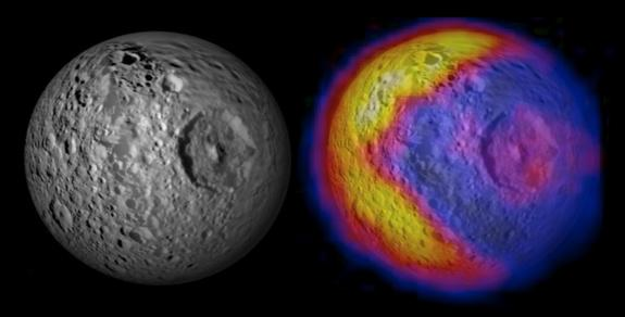 This figure illustrates the unexpected and bizarre Pac-Man like pattern of daytime temperatures found on Saturn's small inner moon Mimas.  The heat map was compiled from data recorded by the Cassini spacecraft during a Feb. 13, 2010 flyby of Mimas.