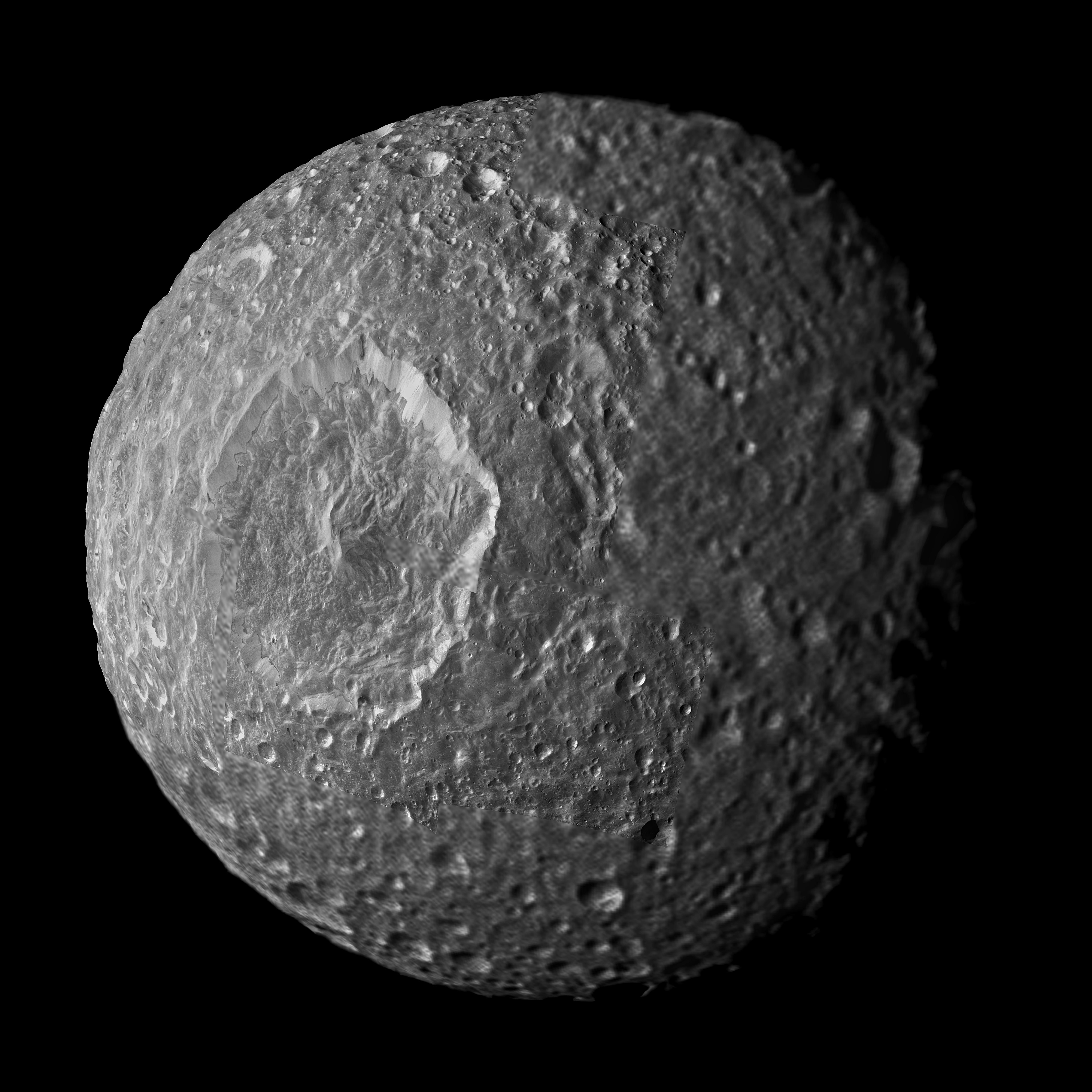Streaks and Markings on Saturn's Moon Mimas