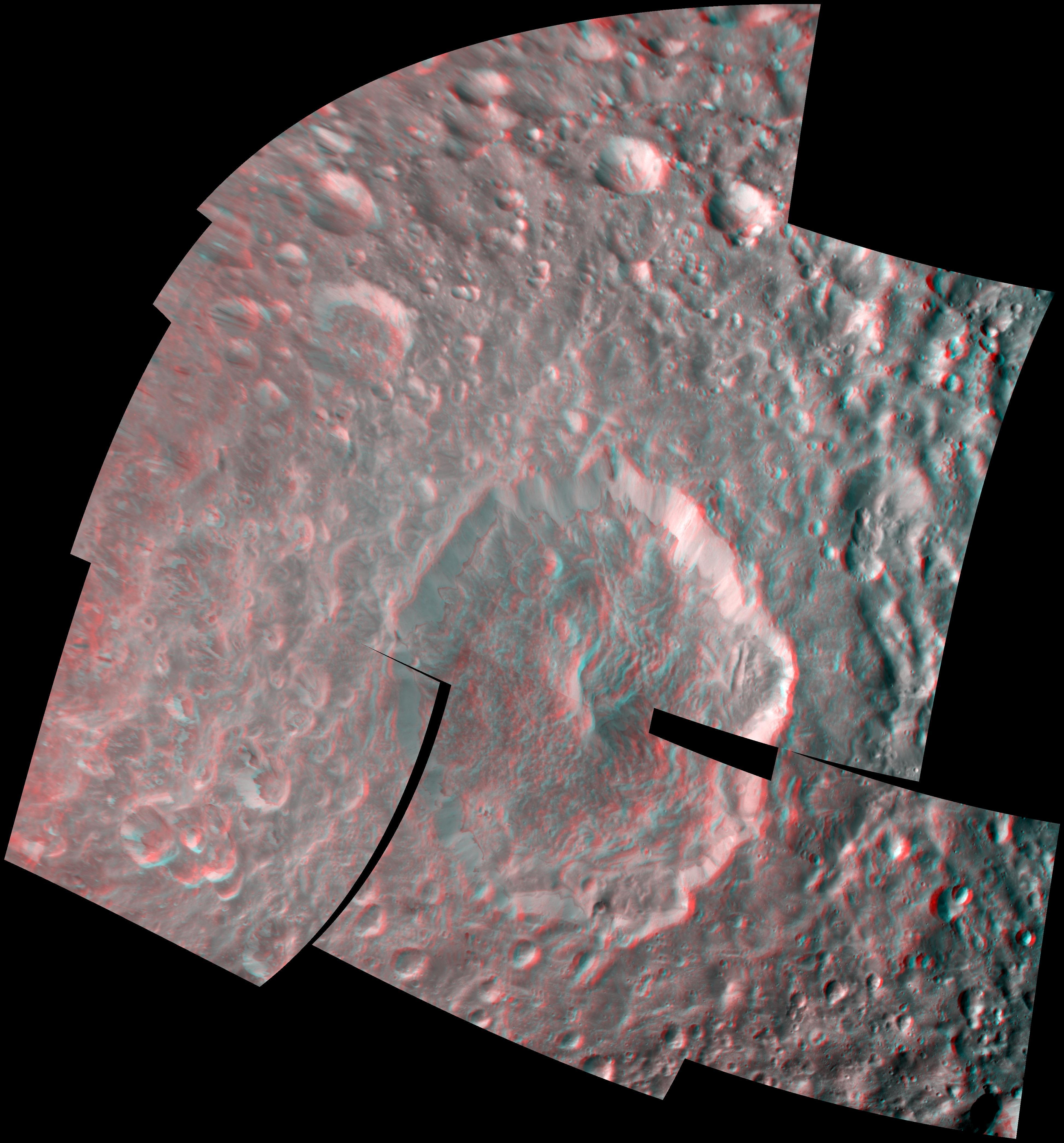 Mimas' Herschel Crater in 3-D