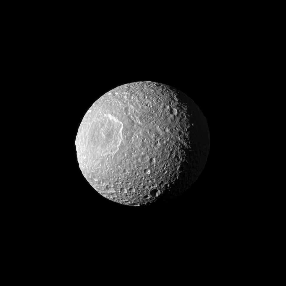 Saturn's Moon Mimas: Three-Quarter Portrait