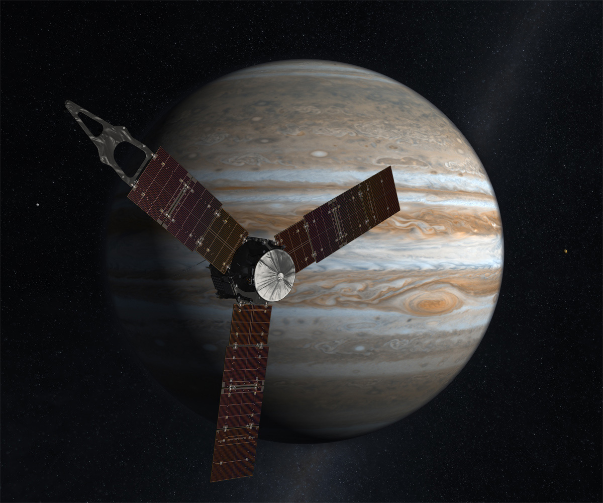 Jupiter-Bound Probe Changes Orbit in Deep Space
