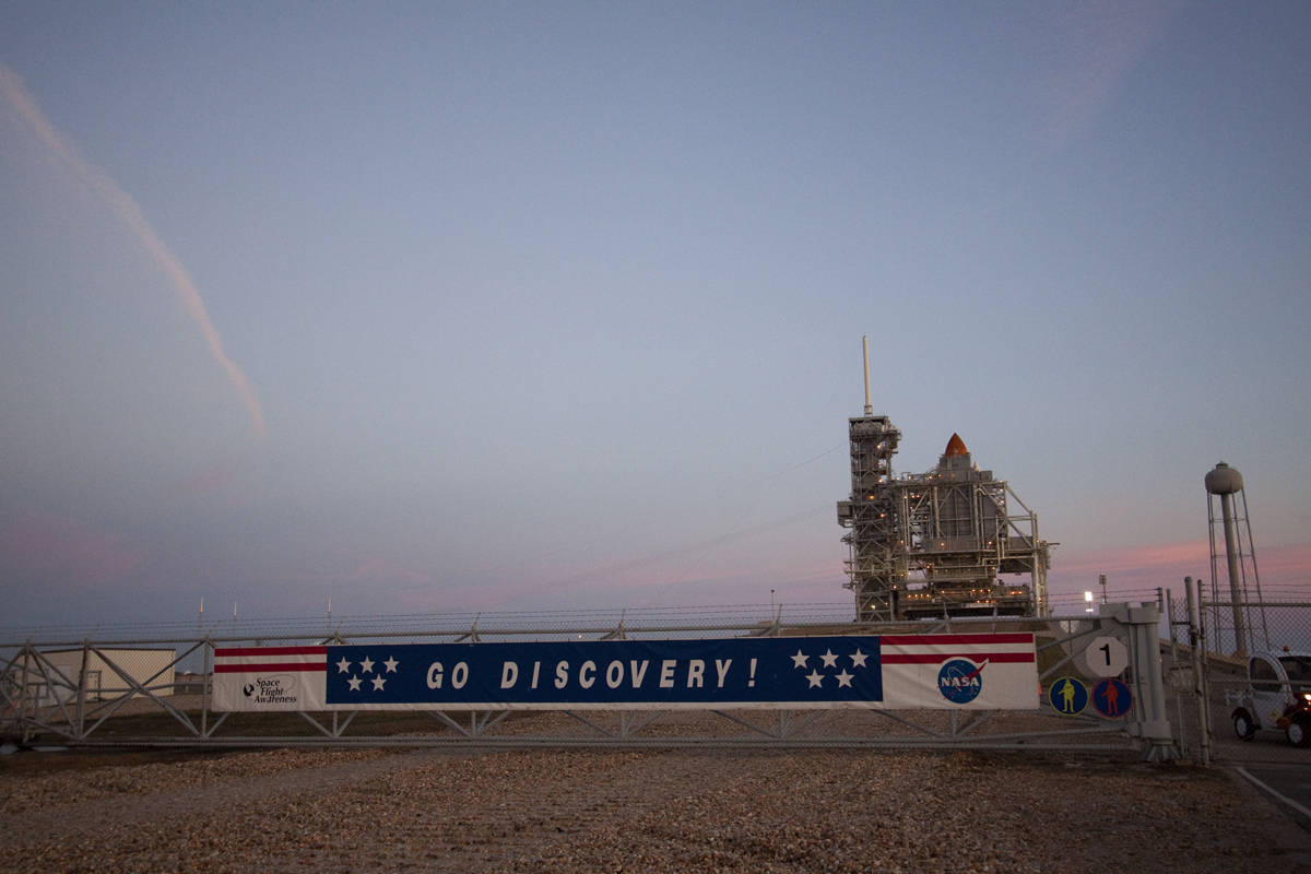 Space Shuttle Discovery Launch Pad Banner
