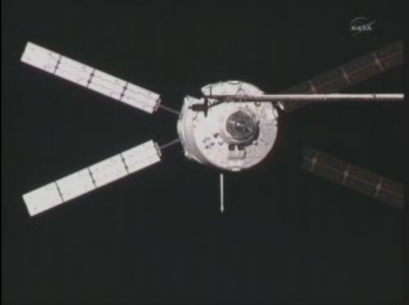 The European Space Agency's ATV-2 Johannes Kepler docks at the International Space Station on Feb. 24, 2011 after an 8-day flight.