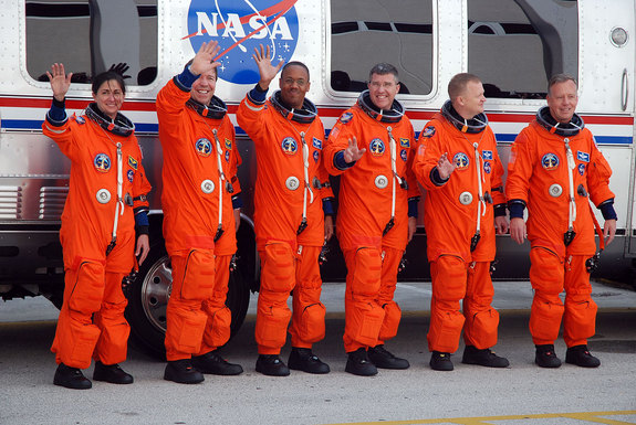 The space shuttle Discovery's final crew, the six astronauts of NASA's STS-133 mission, head to Launch Pad 39A at the Kennedy Space Center in Florida for launch on Feb. 24, 2011.
