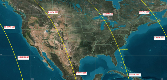 This NASA map shows the anticipated flight path of the NanoSail-D solar sail. The solar sail satellite is visible to much of the U.S. and southern Canada, weather permitting, through March 7.