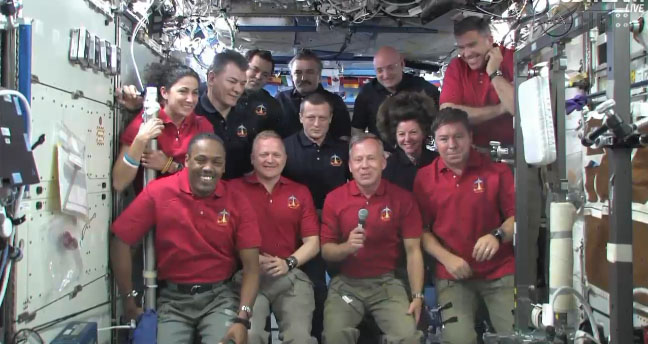 Discovery and ISS Crews Take Presidential Call