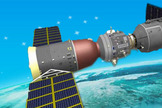 This graphic from a China Astronaut Training Center presentation depicts a Chinese Shenzhou spacecraft docked at the country's first space station module Tiangong-1.