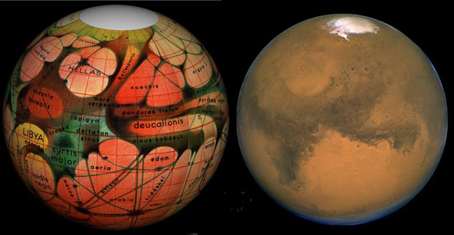 (Left) This 1894 map of Mars was prepared by Eugene Antoniadi and redrawn by Lowell Hess. (Right) A Hubble Space Telescope photo of Mars shows the modern view of our neighboring planet.