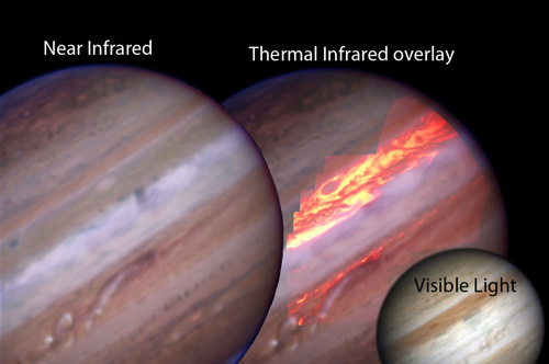 A comparison of the visible, near infrared, and thermal infrared views of Jupiter. The thermal-infrared image shows the heat from the planet's surface, rather than the light reflected by the sun, and allows for greater understanding of the turmoil in the Jovian atmosphere.