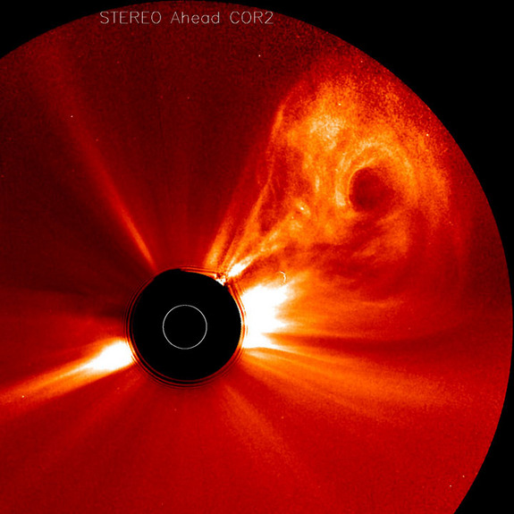 The STEREO (Ahead) spacecraft caught a large coronal mass ejection as it roared away from the Sun and out into space in the opposite direction from Earth (Feb. 26-28, 2011).