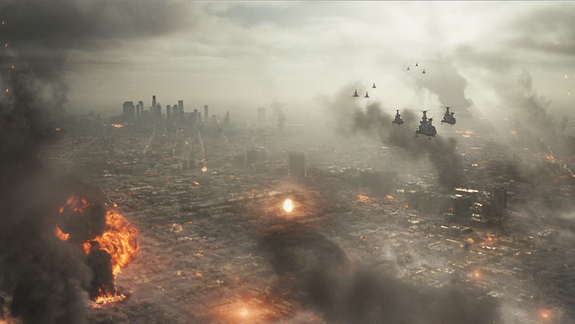 Aliens reduce much of the City of Angels to smoking ruins in the new flick 'Battle: Los Angeles.'