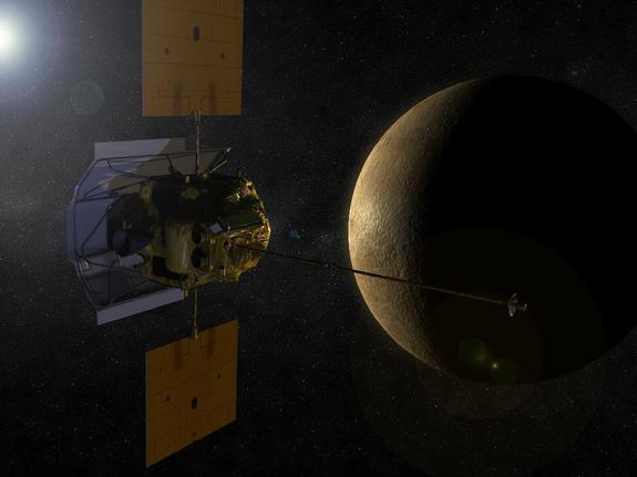 An artist's conception shows the MESSENGER spacecraft in orbit around Mercury.