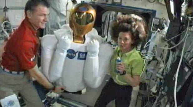 Astronauts Unpack Humanoid Space Robot in Orbit