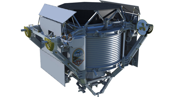 Artist's concept of the Alpha Magnetic Spectrometer, a particle physics detector that will be installed on the starboard truss of the International Space Station.
