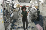 Irish astronaut Cady Coleman displays a flute and a pennywhistle on loan from the Irish band The Chieftains while flying in the Japanese Kibo lab on the International Space Station on St. Patrick's Day, March 17, 2011.