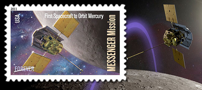 mercury messenger stamp and artwork