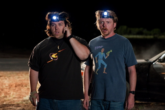 "A still from the science fiction comedy film ""PAUL"" starring an alien voiced by Seth Rogen and actors Simon Pegg and Nick Frost."