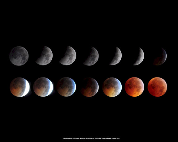 This montage of images taken by skywatcher Kieth Burns shows the Dec. 20, 2010 total lunar eclipse. The photos won a NASA contest to become an official NASA/JPL wallpaper for the public.