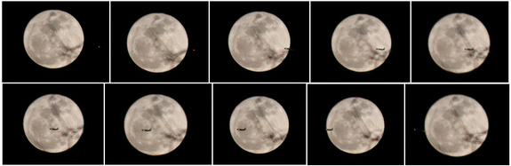 "Skywatcher Tony Hoffman in New York City snapped this montage of photos as a plane crosses the disk of the full moon on March 19, 2011 during a so-called ""supermoon."""