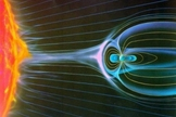 The Earth's magnetosphere deflects some of the solar wind.