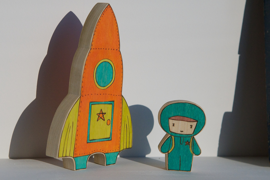 A Free-standing Wooden Spacecraft and Astronaut