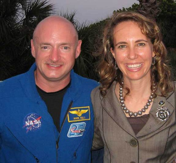 Congresswoman Gabrielle Giffords (right) with her husband, NASA astronaut Mark Kelly.