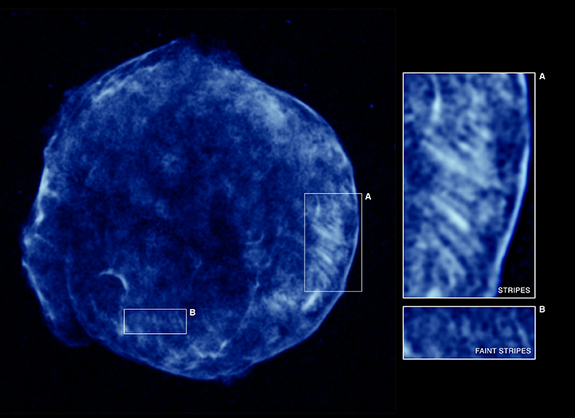This Chandra image shows the higher energy X-rays detected from the Tycho supernova remnant. These X-rays show the expanding blast wave from the supernova, a shell of extremely energetic electrons. Close-ups of two different regions are shown, region A containing the brightest stripes of tangled magnetic fields and region B with fainter stripes.