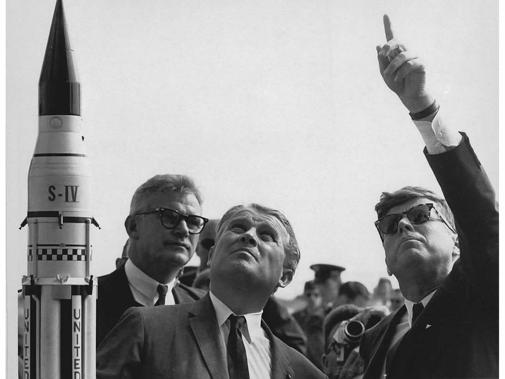 President Kennedy at Cape Canaveral with von Braun, Seamans