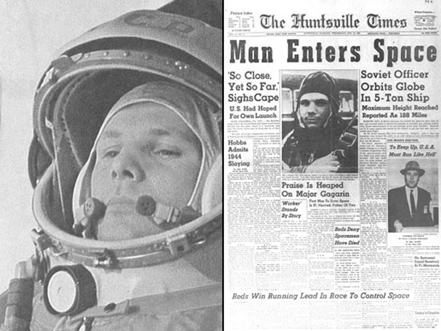 On April 12, 1961, Russian cosmonaut Yuri Gagarin (left, on the way to the launch pad) made the first human spaceflight, a 108-minute orbital journey in his Vostok 1 spacecraft. Newspapers like The Huntsville Times (right) trumpeted Gagarin's accomplishme