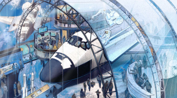 New York City's Intrepid Sea, Air and Space Museum's revised concept art surrounds the space shuttle with platforms and exhibits.