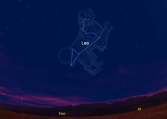 This sky chart shows where the constellation Leo, the Lion and its trademark sickle appear in the eastern sky as viewed from the Northern Hemisphere during spring. This chart is where the constellation appears at 8 p.m. EDT as viewed from the U.S. East Coast.